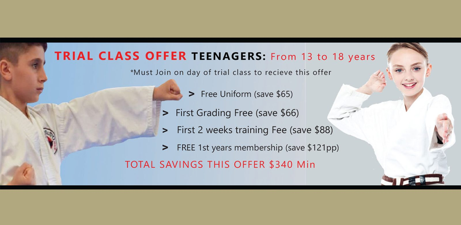 Trial Class Special Offer TEENAGERS _  Offer Ends January 31 2021